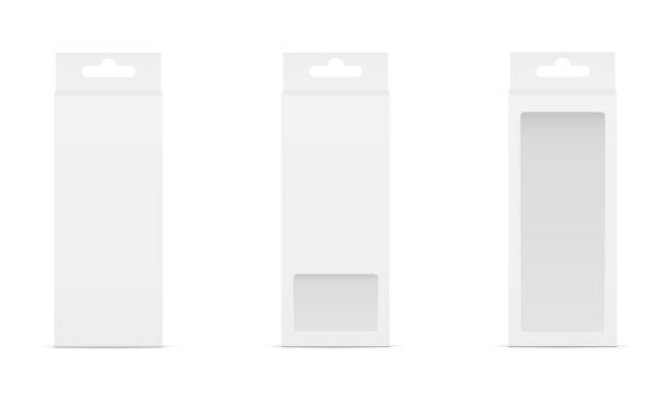 ilustrações de stock, clip art, desenhos animados e ícones de set of three boxes with transparent window and hanger - packaging