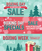 Set of three Boxing Day Sale advertisement banner designs and bokeh background template. Royalty free Vector illustration of a Red Boxing day event text design with bokeh background and trees. Green and bright red color themes. Green teal bokeh background with red and green text and ribbon and gift boxes. Fully editable and  easy to edit vector illustration layers. Includes sample text design and shadow below.