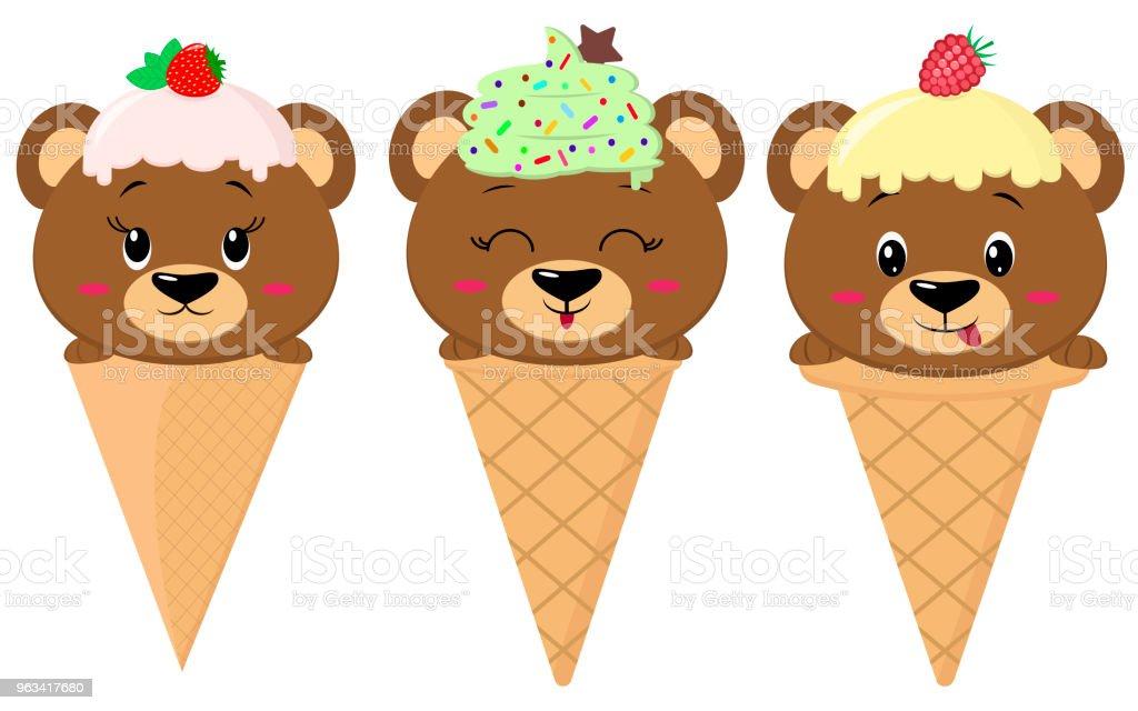En uppsättning av tre brunbjörnar i bilden av en glass - Royaltyfri Banderoll vektorgrafik