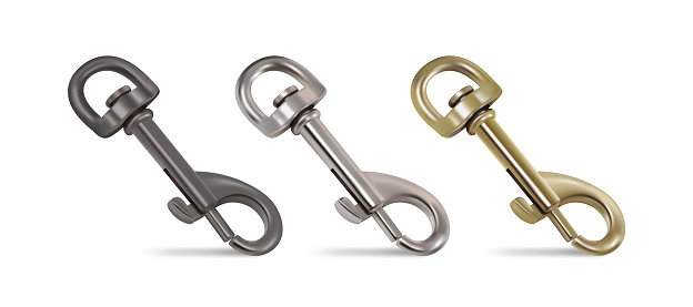 Set of three carabiners for the bag strap. 3d vector illustration