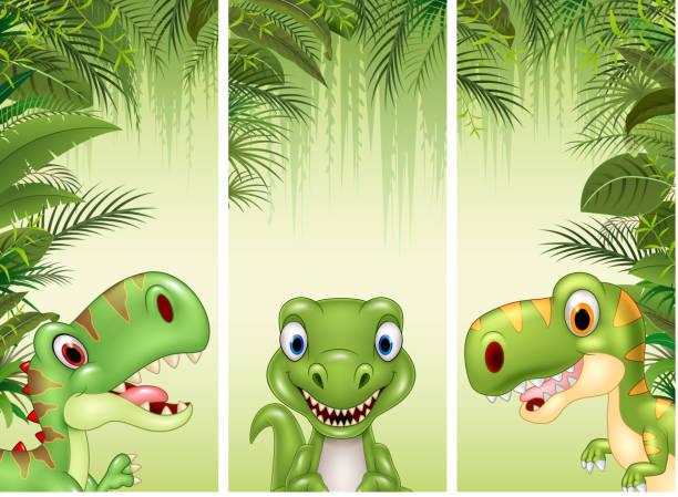 set of three cartoon dinosaur - fossilized leaves stock illustrations