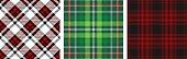 istock Set of three Christmas plaid patterns. 1174497610