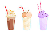 Collection set of three colorful milkshakes in glasses with tubes made with different ingredients. Isolated vector icon illustration on white background in cartoon style