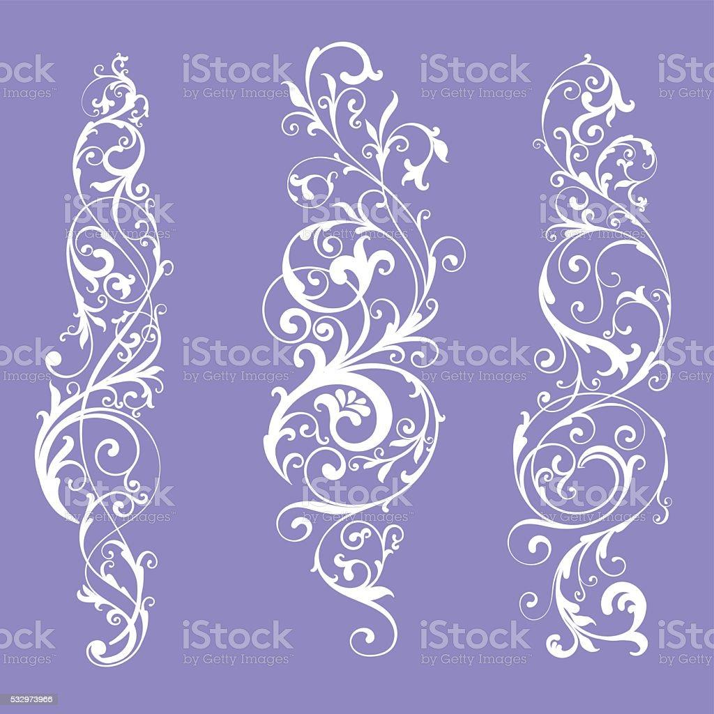 Set of three different classic swirls