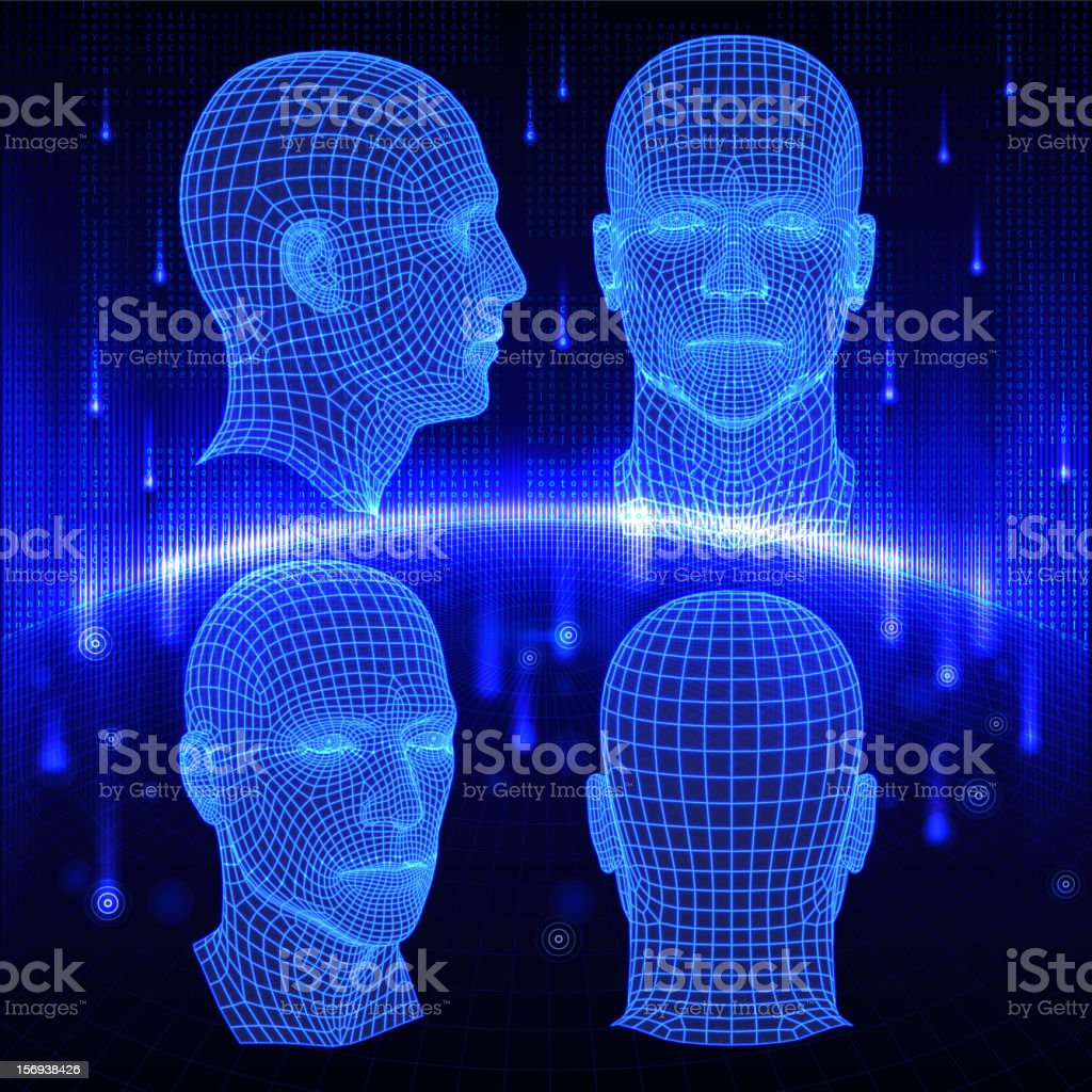 Set of three dimensional heads on abstract background. royalty-free stock vector art