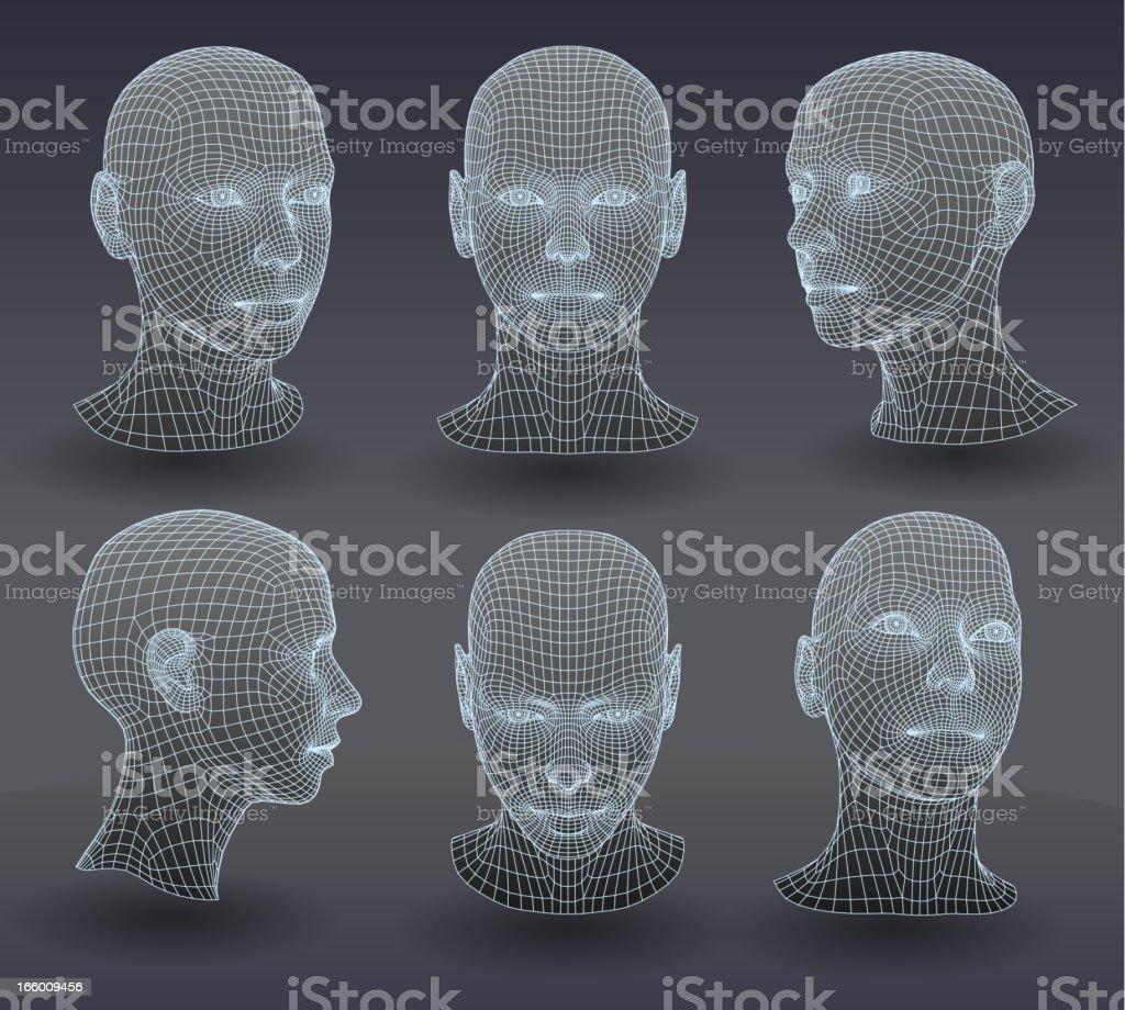 Set of three dimensional heads.