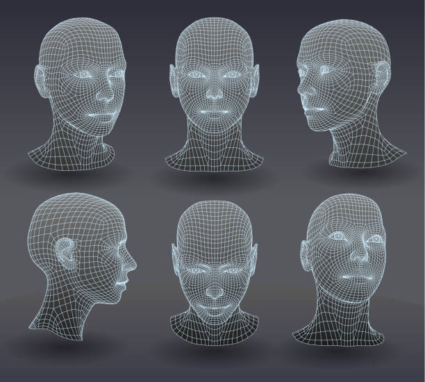 Set of three dimensional heads. vector art illustration