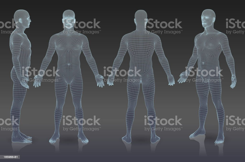 Set of three dimensional people. vector art illustration