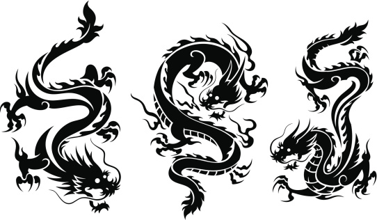 Set of three dragons