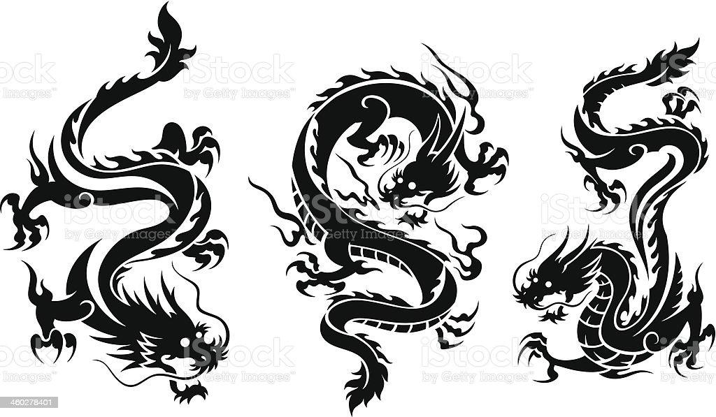 一連の 3 つのドラゴン ベクターアートイラスト