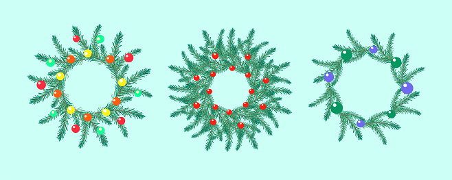 A set of three dressed up Christmas wreaths. Pine twigs, Christmas balls.