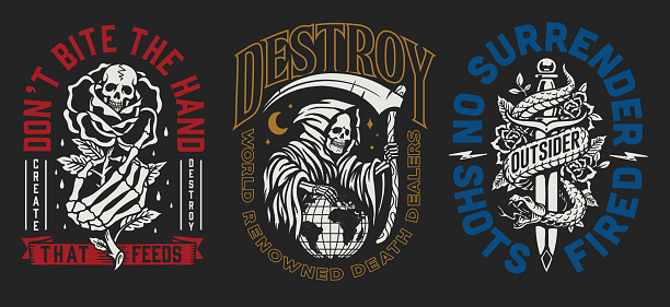 A set of three edgy tattoo style illustration graphic designs for t-shirts or other merchandise