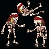 Set of three evil pirates skeletons