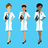 Set of three female doctors in different races on blue background,vector illustration