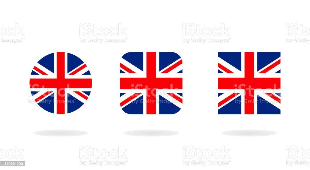 Ilustración de Conjunto De Tres Forman La Union Jack Iconos De ...