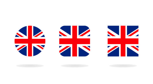 3 형태는 유니온 잭의 집합입니다. 벡터 아이콘입니다. 영국의 국기 - 영국 국기 stock illustrations
