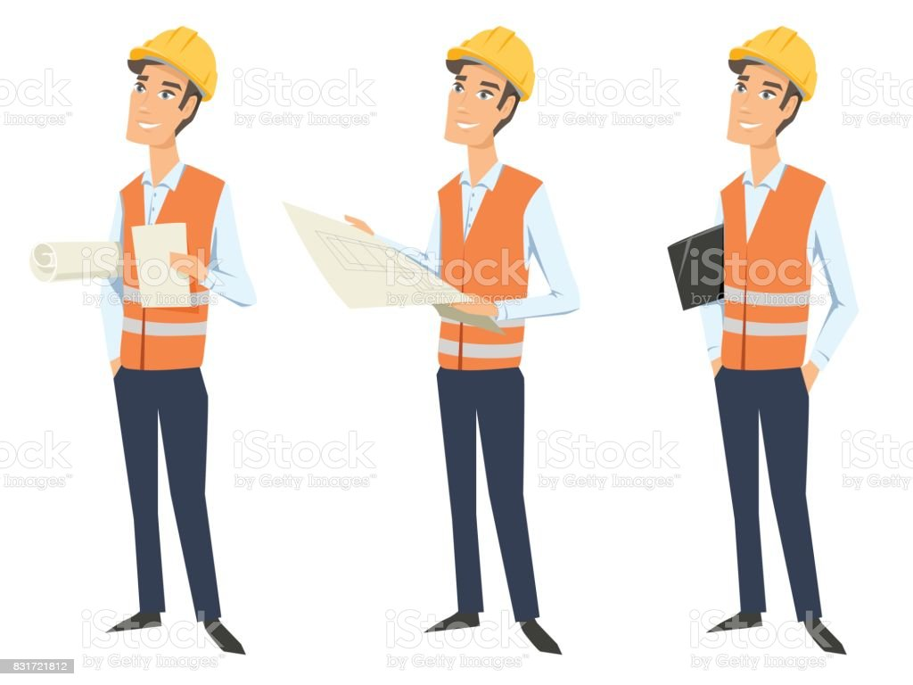 Set of three full length characters (architect, engineer or worker) wearing protective uniforms (protective vest and hardhats) and  looking at blueprint, holding documents and folder. vector art illustration