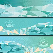 set of three geometric winter banner with different shades of colors and textures and various winter text symbols,