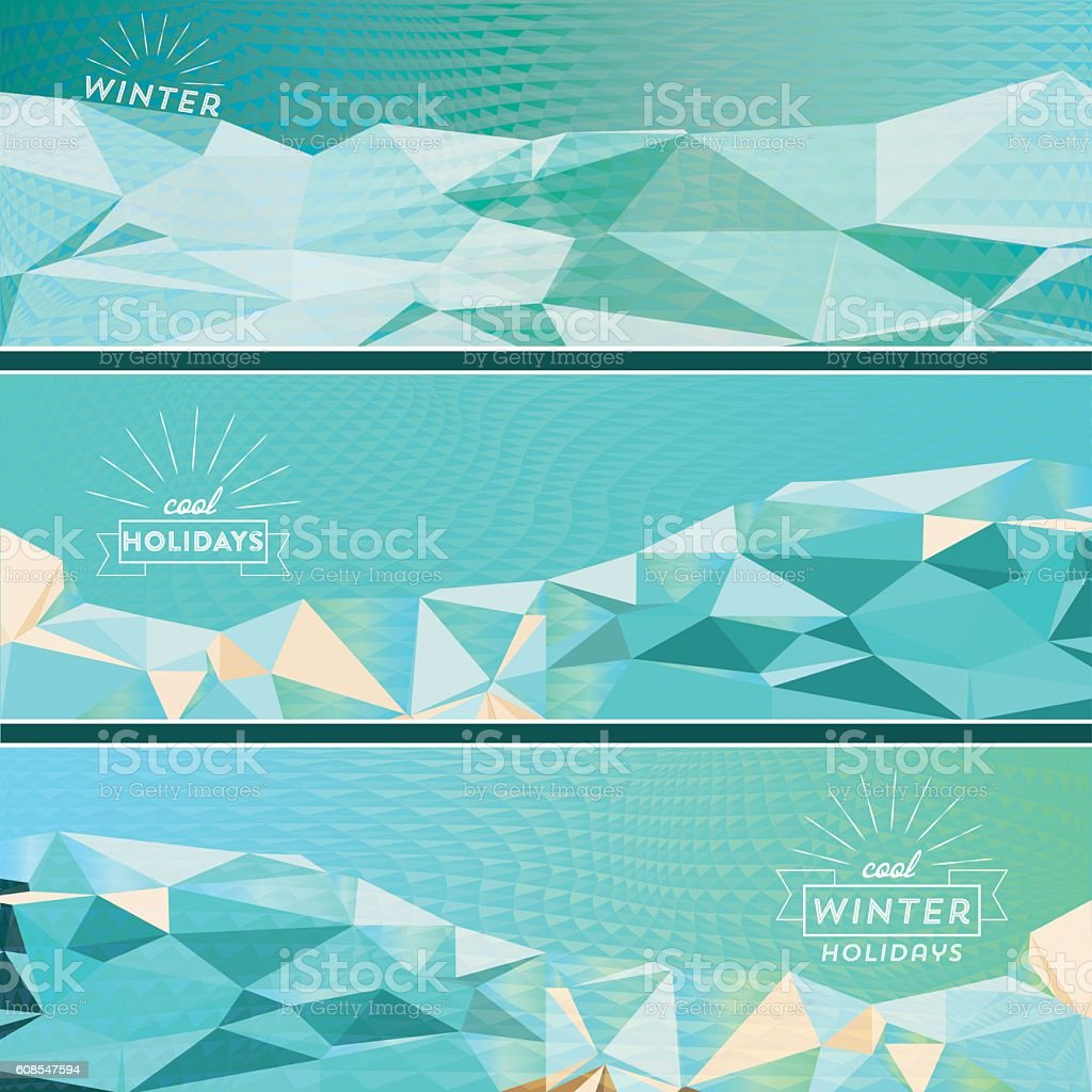 set of three geometric winter banner vector art illustration