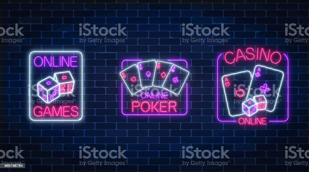 Set of three glowing neon signs of casino online games application. Casino bright signboard. Internet gambling banner. royalty-free set of three glowing neon signs of casino online games application casino bright signboard internet gambling banner stock vector art & more images of ace