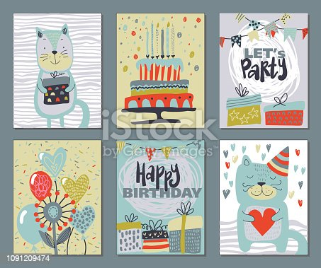 Set of three Happy Birthday Party cards. Vector hand drawn illustration with cake, balloons, cute cat.