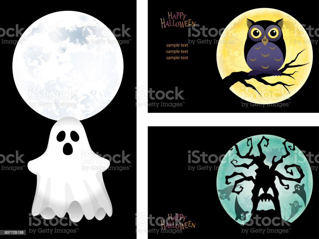 set of three happy halloween card templates with a ghost an owl and
