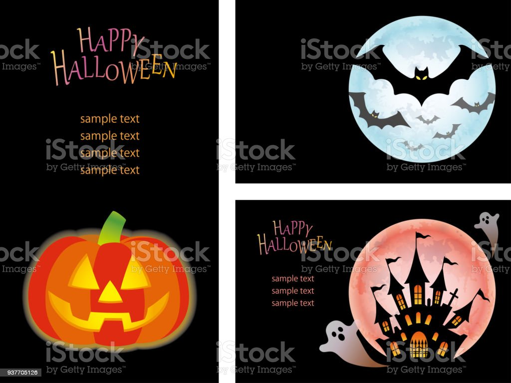 set of three happy halloween card templates with jackolantern bats