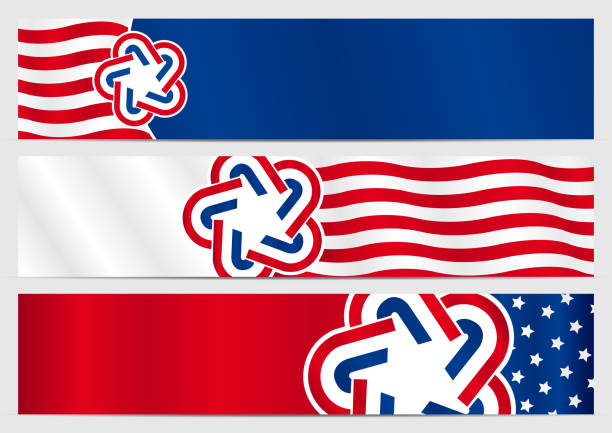 set of three horizontal banners with the colors of the flag of the united states - alejomiranda stock illustrations