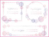Set of three hydrangea message frames, vector illustration.