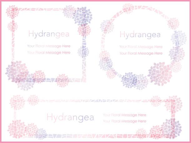 3 アジサイ メッセージ フレームのセットです。 - 花のフレーム点のイラスト素材/クリップアート素材/マンガ素材/アイコン素材