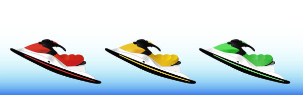 Bекторная иллюстрация Set of three jet skis - red, yellow and green on a blue background