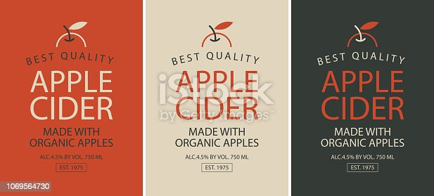 istock set of three labels for apple cider with apple 1069564730