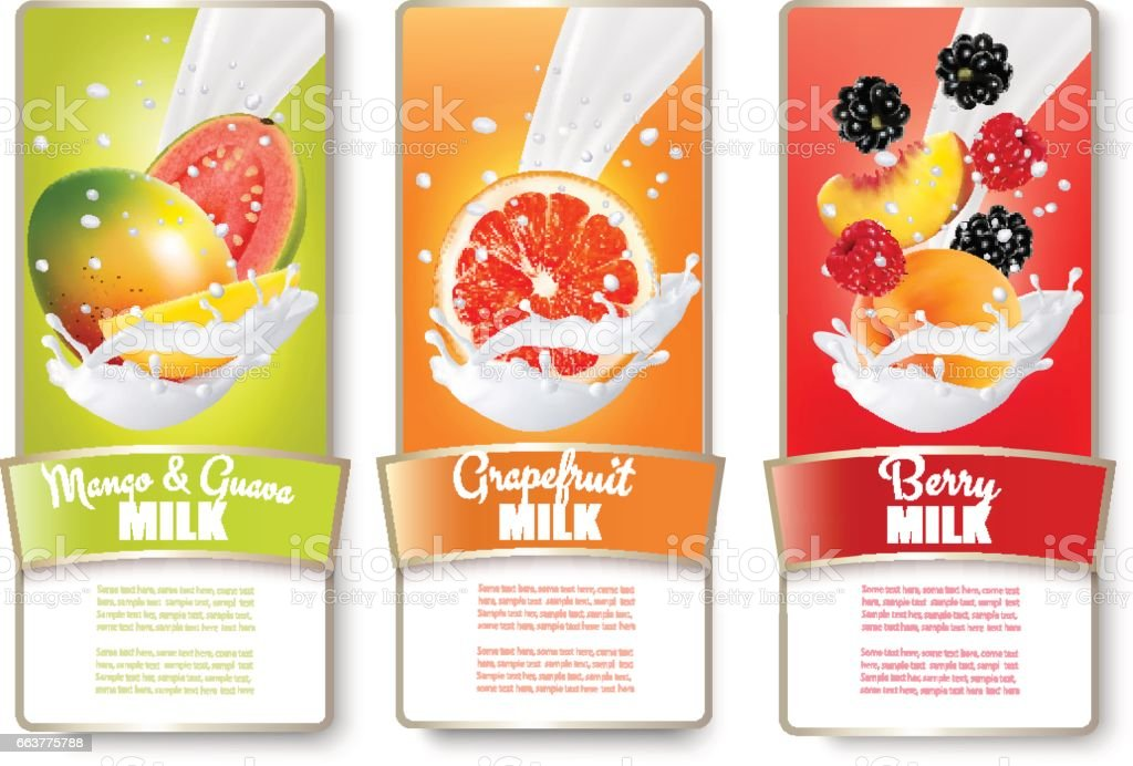 Set of three labels of of fruit in milk splashes. Guava, mango, grapefruit, peach, blackberry, strawberry. Vector. vector art illustration