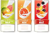 Set of three labels of of fruit in milk splashes. Guava, mango, grapefruit, peach, blackberry, strawberry. Vector.