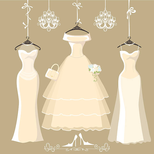 Set of  three long bridal dresses hang on ribbons The composition of  three long bridal dresses with short skirt.Dresses hang on ribbons.Composition with chandeliers,text, high heel shoes on grey background. Fashion vector Illustration wedding dress stock illustrations