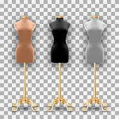 Set of three mannequins fashion of different colors on a gold pillars. Vector Illustration