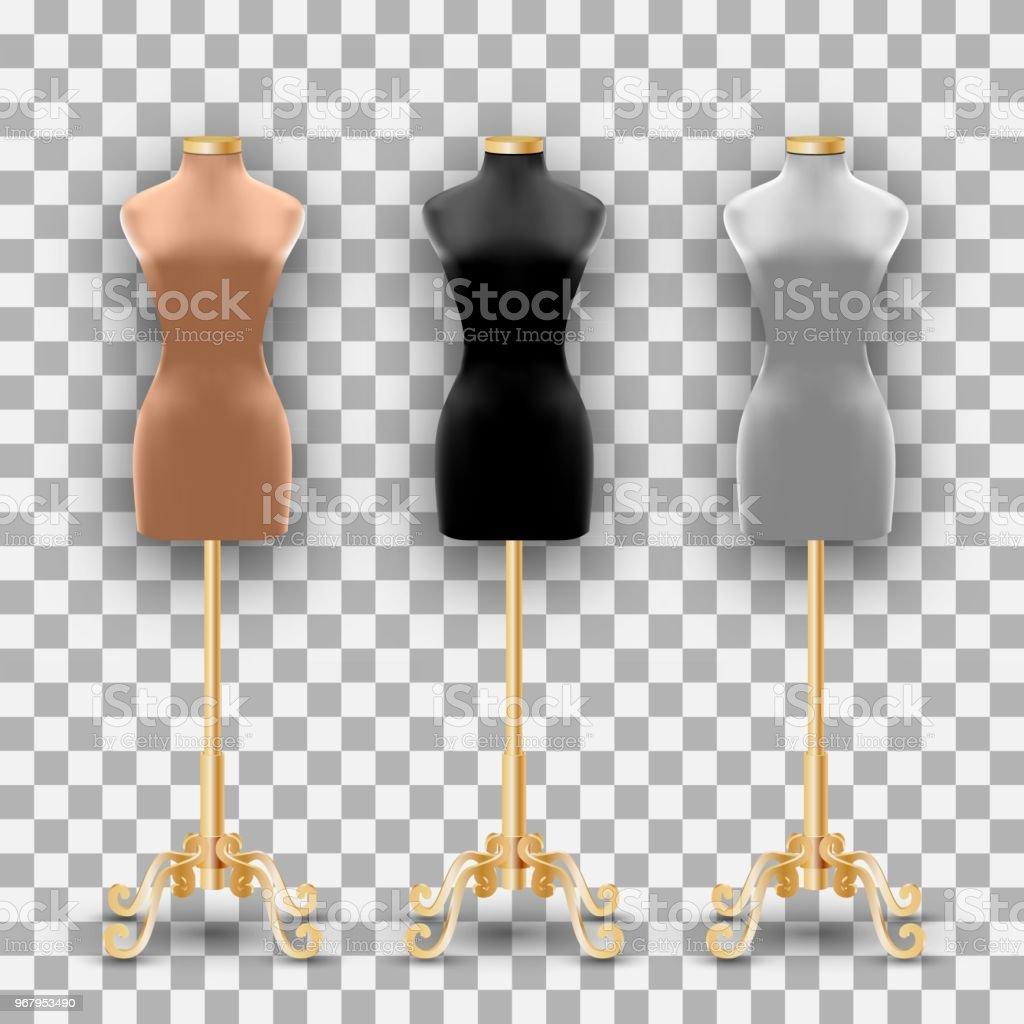 Conjunto de três moda manequins de diferentes cores em um pilares de ouro - ilustração de arte em vetor