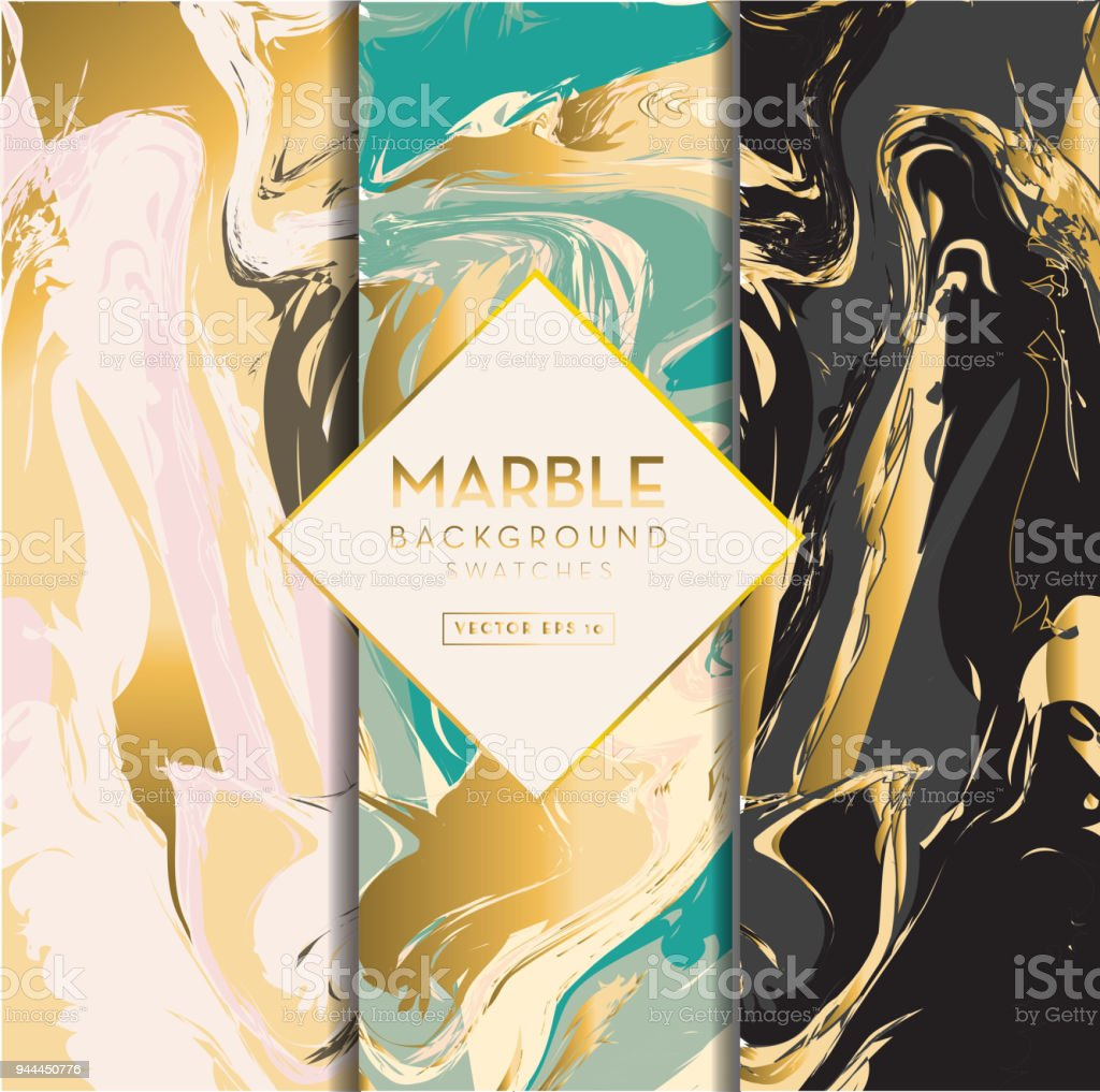 Set of three marble background swatches vector art illustration