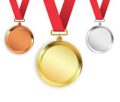 Set of three medals isolated on white background. Gold, silver, bronze medallions. Vector illustration.