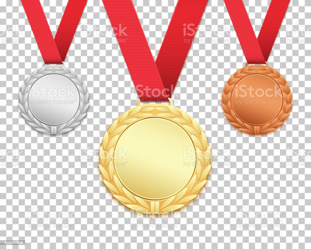 Set of three medals. vector art illustration