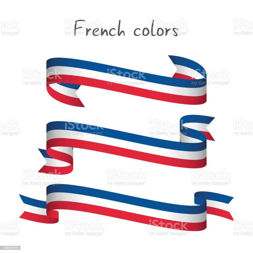 Conjunto de tres cinta vector color moderno con el fondo blanco aislado en la tricolor francesa, bandera de abstractos francés, hecho en el logo de Francia - ilustración de arte vectorial