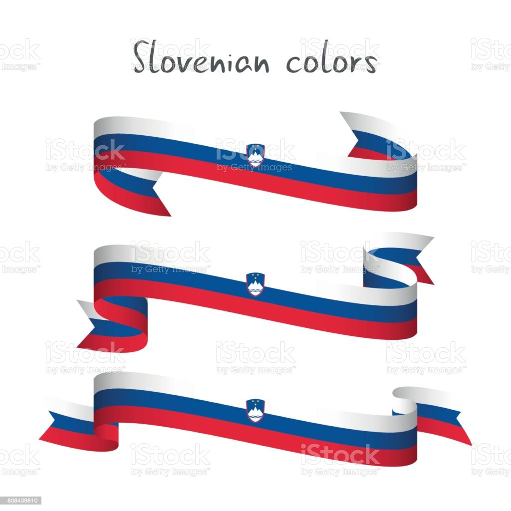 Set of three modern colored vector ribbon with the Slovenian tricolor isolated on white background vector art illustration