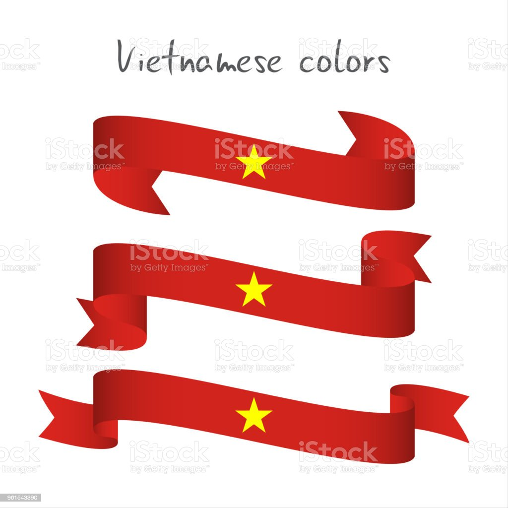 Set of three modern colored vector ribbon with the Vietnamese colors isolated on white background, abstract Vietnamese flag, Made in Vietnam logo vector art illustration