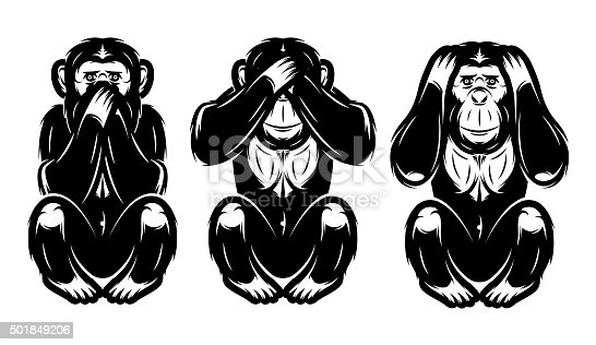 a set of three monkeys - hear no, see no, do not say