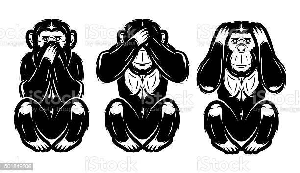 Drei Weise Cartoon Affen Download Kostenlos Vector