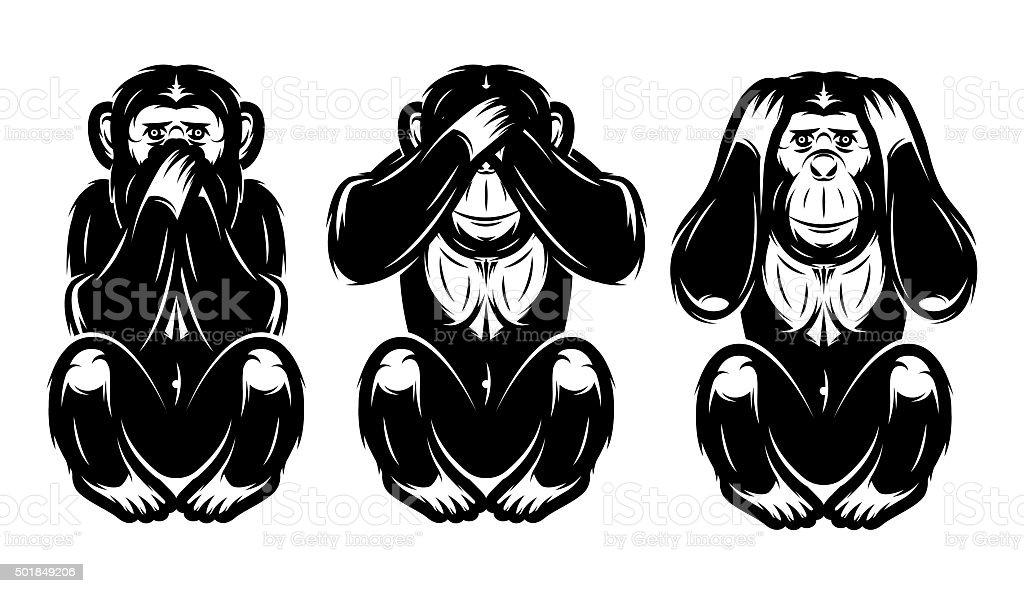 set of three monkeys - hear no, see no, say vector art illustration