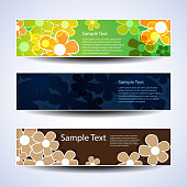 Colorful Banners with Abstract Flower Designs in Freely Scalable and Editable Vector Format