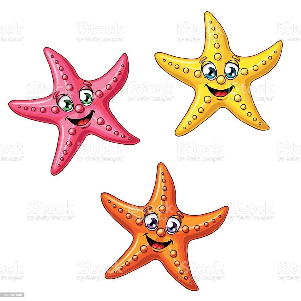 Набор из трех разноцветных Морские звезды векторная иллюстрация