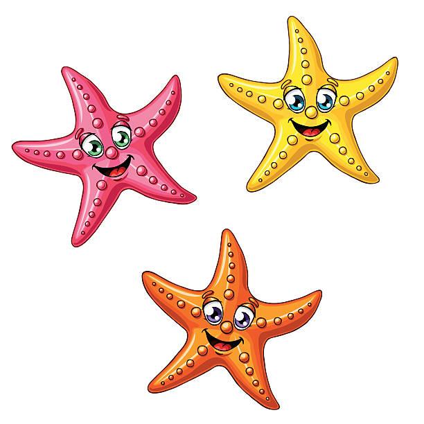 Bекторная иллюстрация Набор из трех разноцветных Морские звезды