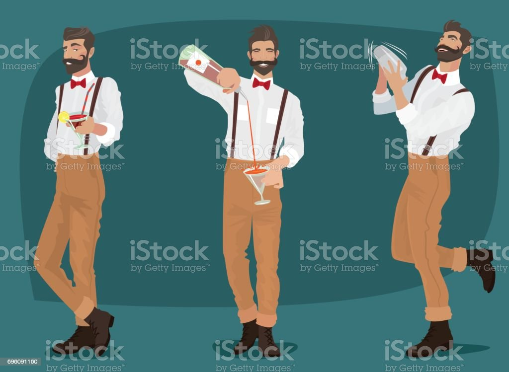 Set of three mustachioed hipster bartenders vector art illustration